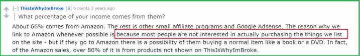 скриншот комментария из товаров Amazon