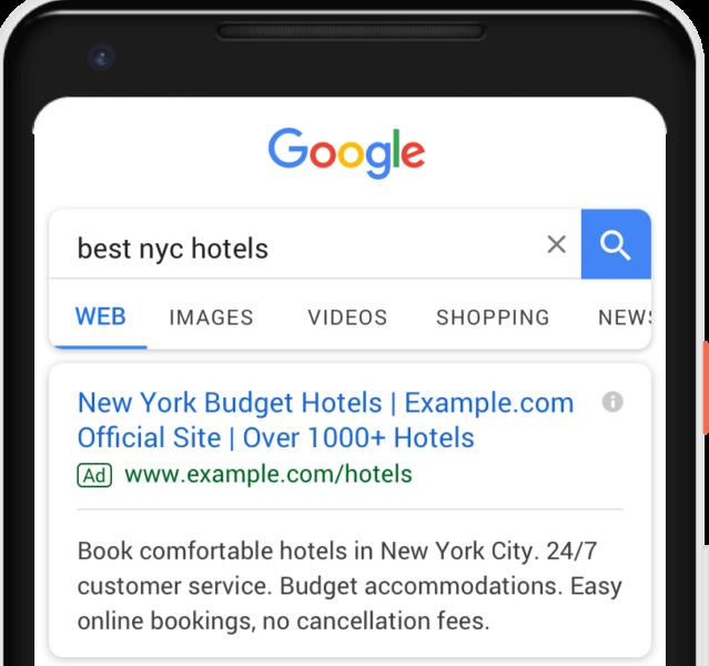 Пример тексового объявления. Рекламные форматы в Google Ads