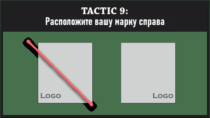 расположите вашу марку справа