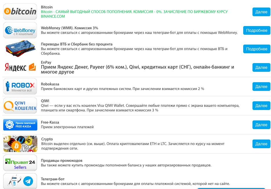 Simsms.org - способы оплаты