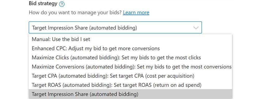 Microsoft Ads: «Целевой процент полученных показов» - новая стратегия